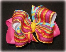 Sassy Stripes Dots Boutique Hair Bow Girl Big Double Layer Hairbow Pageant Party