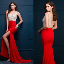 BEAD Mermaid RED Long Formal Gown Ball Wedding Party Cocktail Evening Prom Dress