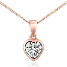 Elegant 18K Rose Gold Plated Inlaid Austrian Crystal Heart Pendant Necklace