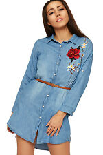 Womens Denim Shirt Dress Ladies Floral Rose Accent Long Top Sleeve Belted 8-14