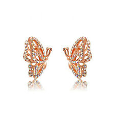 Romantic Elegant 18K White Gold Plated Austrian Crystal Butterfly Stud Earrings