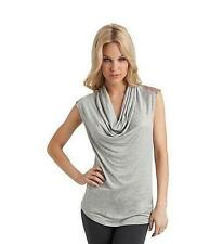 NWT GUESS by Marciano Knit Top Leather Shoulders Cowl Top Gray Size S L