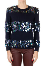 DRIES VAN NOTEN New Woman Dark Blue Round Neck Paillettes Merino Wool Sweater