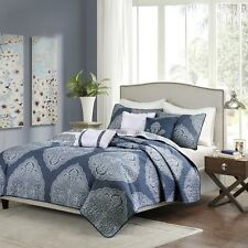6 Piece Reversible Quilted Coverlet Set Navy Blue - Pillows and Shams Included
