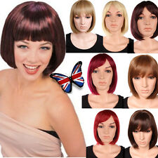 Heat Resistant Cosplay Synthetic Hair Wig Neat Fringe Short BOB Full Head Wigs f