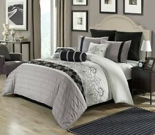 Deluxe Embroidery Grey Floral Pleated Comforter King Queen 9 pcs Set