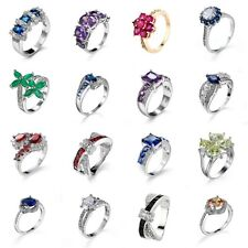 Party ring Women Girls Silver  Jewelry Rings Colorful PRINCESS Size 6/7/8/9/10