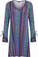 Plus Womens Paisley Swing Dress Top Ladies Long Bell Sleeve Print Flared New