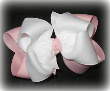 Pink White Double Layered Hair Bow Spikes Baby Toddler Girls Hairbow Party Big 5