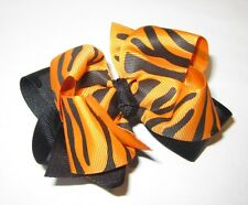 Orange Zebra Tiger Boutique Hair Bow Girl Big Double Layer Hairbow Pageant Party