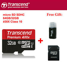 Transcend Micro SD Card 16 32 64GB TF Flash Memory Card With Adapter Class10 U1