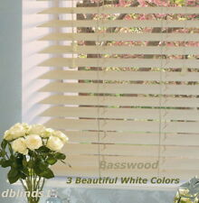 "2"" DELUXE BASSWOOD (REAL WOOD) BLINDS 44 1/4"" WIDE x 24"" to 36"" LENGTHS"