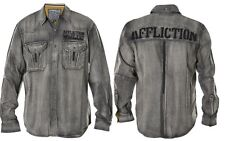 Affliction City Invader Men's Woven Long Sleeve Button Front Shirt 110WV471 Grey