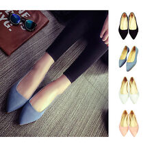 Women Pointed Toe Loafers Ballet Flats Suede Ballerinas Slip-on Office Shoes RF
