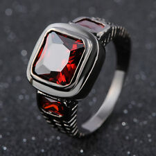 Hot Fashion Unisex Size 8,9,10,11,12 Red Garnet Black 18K Gold Filled Rings