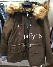 ZARA WOMAN PARKA WITH FAUX FUR HOOD DARK KHAKI SIZE: L REF. 5065/245