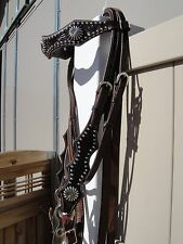 BROWN LEATHER SHOW QUALITY BRIDLE SPLIT REINS ORNATE CURB BIT CHAIN CHIN STRAP