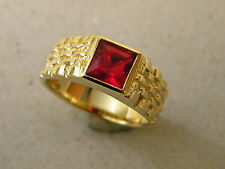 Men's Square Red CZ Stone Yellow Tone Gold or Rhodium Plated Ring Size 11.25 New