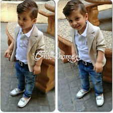 Baby Boy Gentleman Outfit Coat Jacket Top Shirt Trousers Pants Clothes Set