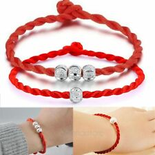 2*Women's Lucky Ball Bead Red Rope Line Bracelet Red Cord Cuff Bangle Hand Chain