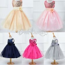 Flower Girl Princess Kid Party Pageant Wedding Bridesmaid Sequin Prom Ball Dress