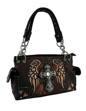 Moonlight Camo Angel Wing Rhinestone Cross Western Concealed Carry Handbag