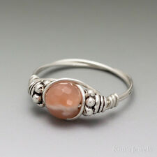 Sunstone Faceted Bali Sterling Silver Wire Wrapped Bead Ring