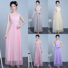 Formal Bows Long Maxi Party Dresses Evening Prom Gown Women's Bridesmaid Dress