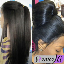"20"" Yaki Straight full lace wig/lace front wigs 100% real remy human hair"