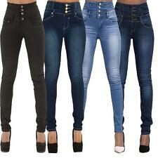 Women Ladies High Waist Slim Skinny Jeans Stretch Pencil Denim Pants Plus Size