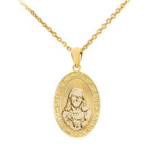 """10k Yellow Gold """"Sacred Heart Of Jesus Have Mercy On Us"""" Small Pendant Necklace"""