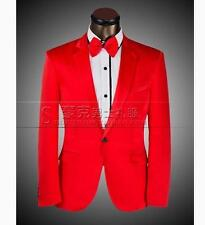 Mens Red one button slim fit party Tuxedo suit pants wedding suit Blazers coat
