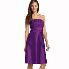 Strapless Pleated Knee Length Formal Taffeta Cocktail Party Dress Violet