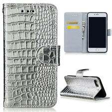 For iPhone Folio Crocodile PU Leather Wallet Card Cash Holder Case Stand Cover