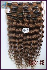 120g 150g Deep Weaving Wavy Remy Clip In 100%Real Human Hair Extension Ash Brown