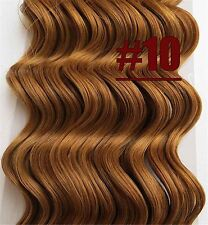 8PCS Deep Weaving Wavy Remy Clip In 100%Real Human Hair Extensions Golden Brown