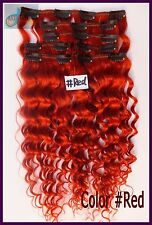 8PCS 120g Deep Weaving Wavy Remy Clip In Real Human Hair Extension Red Full Head
