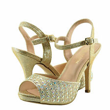 Women's Shoes Blossom Robin 214 Peep Toe Crystal Strappy Heels Nude Sparkle *New