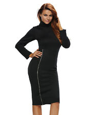 Fashion Women Long Sleeve High-neck Tall Waist One Side Zipper Midi Womens Dress