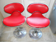 Red  Breakfast Bar High Stools Chairs x 2