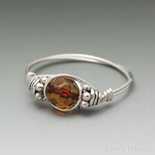 Baltic Amber Faceted Bali Sterling Silver Wire Wrapped Bead Ring