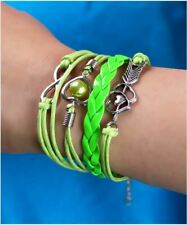 Multi Layer Infinity Love Heart Bracelet Cute Pearl Wing Charm Leather Bangle UK