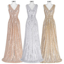 Sequins Long Prom Dress Evening Carpet Cocktail Wedding Bridesmaid Party Dress
