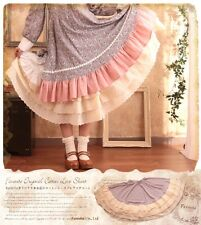 Lolita Princess Lace flounces cotton Petticoat bottoming Skirt (creamy-white)