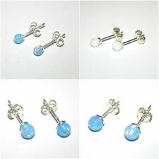 WHOLESALE Lots OPAL Ball Bead STUD Earrings 925 Sterling Silver 4mm, 5mm, 6mm