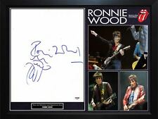Ron Wood Signed Rolling Stones 11x14 Canvas W Tongue Art Sketch PSA Framed Displ