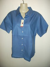Ladies Blue Office/Casual Fruit of the Loom blouse top Short sleeve Size 8 12 16