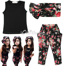 3pcs Toddler Baby Girls Outfit Headband+T-shirt+Floral Pants Kid Clothes Set 0-6