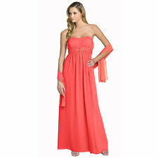 Beaded Strapless Formal Long Evening Gown Bridesmaid Dress with Shawl Coral Red