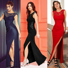 Women Sequin Lace Long Side Split Formal Dress Evening Cocktail Party Prom Gown